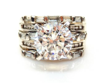 Sterling Silver Round Cut Cubic Zirconia Multi Shape Cubic Zirconia Accent Ring