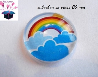 1 cabochon clear domed 20mm Rainbow theme