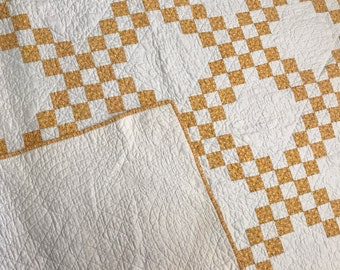 Quilt Yellow and White Patch Quilt 75 x 74