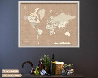 Travel map / World map wall art / World map print / world travel map / push pin map