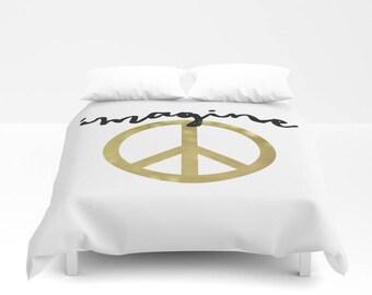 Imagine Peace Duvet Cover, Twin Queen King, Boho Duvet Cover, Dorm Bedding, Teen Room Decor, Kids Room Decor, Black and White, Gold