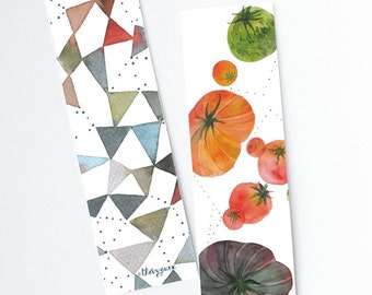 Tomato geometric watercolor paper bookmarks, Illustrated art bookmarks, Book lover gift, Cute stationery, Cute bookmarks, Tomato watercolor