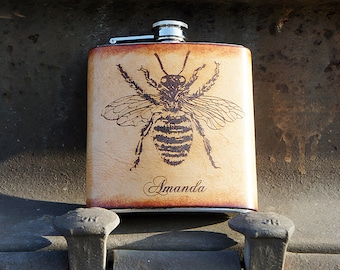 Personalized Stainless Steel & Leather 6oz Flask - Fat Bee