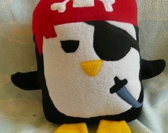 Plush Pirate Penguin Pillow Pal, Baby Safe, Machine Wash and Dry