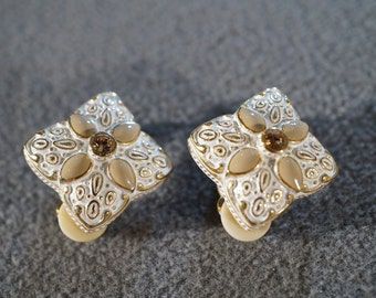 Vintage Designer Signed Joan Rivers Yellow Gold Tone White Cream Enameled 2  Rhinestone Domed Square Triangle Style Clip On Earrings Retired