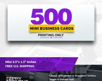 """500 Mini Business Cards 3.5"""" x 1.5"""" , Mini Business Cards Printing Rounded Corners, Matte or Glossy"""