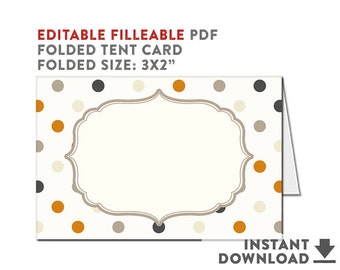 """Fillable Food Tent Card // Foldable Place Card 3x2"""" Halloween Baby Shower Decor Halloween Party Decor INSTANT DOWNLOAD No.65HBABY"""