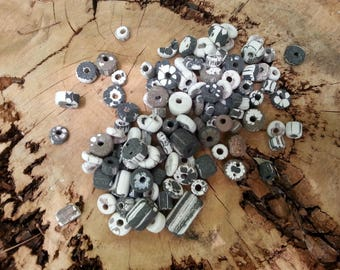 Porcelain handmade beads - Patterned  nu-nu beads, small