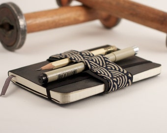 Mini Bandolier // zen garden navy // (a better pencil case, journal pen holder, book strap, pen loop, pencil roll, pen bandolier)