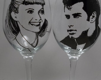 Hand painted glasses, Painted wine glass, Grease, John Travolta