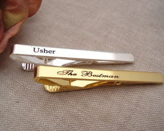 Personalized Groomsmen gift...Gold or Silver Custom engraved Tie Clip, Best Man gift, wedding gift, gift for him