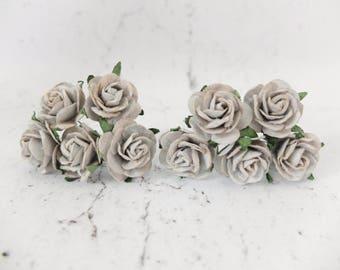"Mulberry paper roses - 10 25mm gray paper roses - 1"" grey paper flowers"
