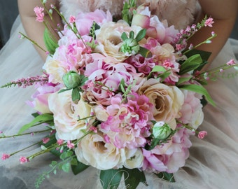Ava - Wedding bouquet.  Soft pink peonies, dahlias, roses, ranunculas and wildflowers.