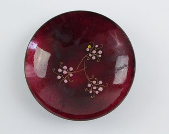 Vintage Red Copper Enamel Bowl  - Tiny Pink Flowers - Signed Mid Century Modern Art Trinket Dish
