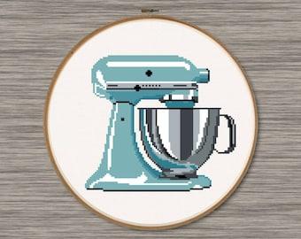 Turquoise Kitchen Mixer - PDF Cross Stitch Pattern