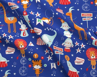 Animal Alphabet Fabric - Animal Alphabet Circus By Sarah Knight - Children's Baby Nursery Cotton Fabric by the Yard with Spoonflower