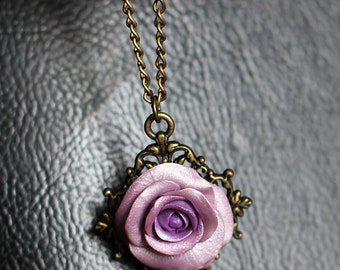 Violet rose pendant Light purple rose necklace Violet necklace Rose jewelry Flower necklace Bronze frame necklace Botanical necklace gifts