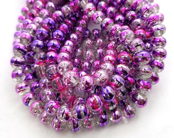 8MM Clear, Hot Pink, Purple Glass Beads | Set of 50 Beads