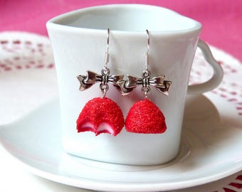 Strawberry candy and bow earrings