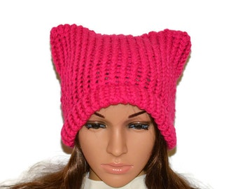 Cat beanie, Cat Ears Beanie, Pussyhat, Pink cat hat, Womens cat hat, Pink cat beanie, Pink pussyhat, Cat lovers gift , Winter hat, Knit hat