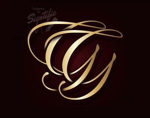Custom Monogram initials, Custom Logo, Name Initials, Gold Initials, Golden Lettering, Business Logo, Shiny Gold Letters, Calligraphy Logo