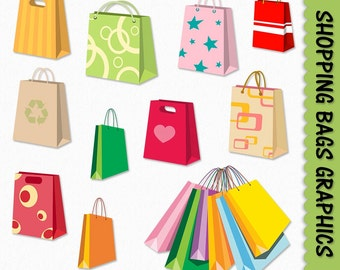Shopping Bags Clip Art Shopping Clipart Graphic Scrapbook Digital Download JPG Transparent PNG Vector Commercial Use