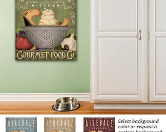 Airedale terrier dog kitchen artwork on gallery wrapped canvas by Stephen Fowler
