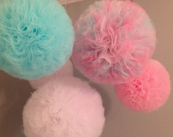 Jumbo Tulle pom poms set of  5 Party Decoration