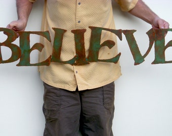 "Believe wall art 42"" custom sign metal sign - choose your color with rust accents patina - steel sign wall art - believe metal wall art sign"