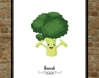 Instant Download Broccoli Kitchen Wall Art Print Digital  Vegetarian Foodie Art Print