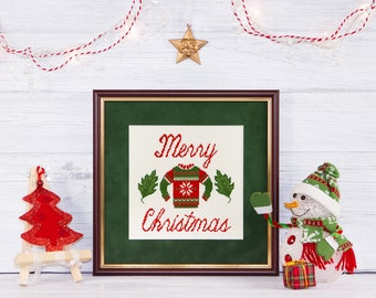 Christmas cross stitch pattern instant download PDF Modern Sweater Easy Beginner Winter Merry Xmas Holiday Happy Quote Scandinavian Folk