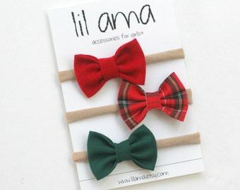 Christmas Baby Headbands - Christmas Headbands - Christmas Plaid Bow Headband - Nylon Headbands - Small Holiday Bows - Baby First Christmas
