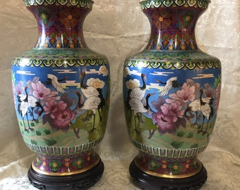 """Couple Chinese vases in Cloisonnè high 15 """"(cm 38) decoration herons and floral motifs with wooden base"""