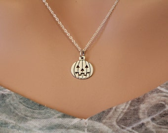 Sterling Silver Pumpkin Charm Necklace, Pumpkin Carving Necklace, Halloween Pumpkin Necklace, Silver Halloween Carving Pumpkin Necklace