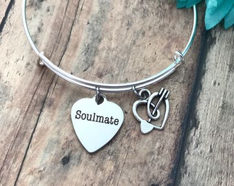 Valentine's Day gift soulmate  Silver adjustable Bangle,stackable bangles love gift, special someone, be my valentine,
