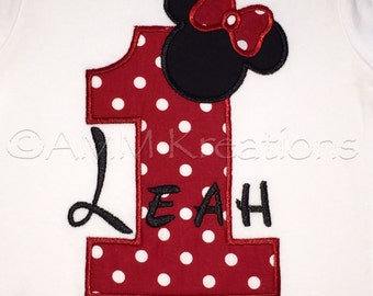 Personalized Minnie Mouse Birthday Number Shirt or Onesie