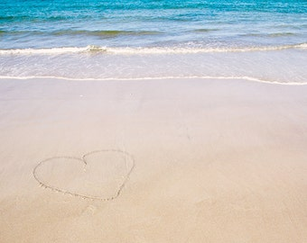 Beach Photography, Heart in the Sand, Ocean Photograph, Heart Photograph, Beach Picture, Seaside, Beach Writing, Coastal, Aqua Turquoise