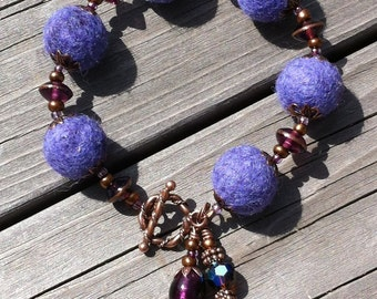 Felted Wool Bracelet - Plum Penny