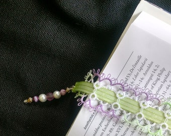 Elegant Tatted Lace Bookmark with Ribbon and Beads, Tatting, Gifts for Reader, Mother's Day Gift, Birthday Gift, Gift for Bookworms