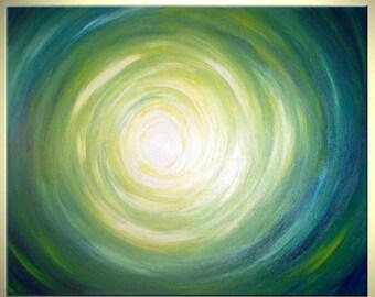 Abstract Green Original Painting - Modern Art - Green Yellow Raindrop - Water Ripples - Original Abstract Art - 30x24 - Lafferty Art On Sale