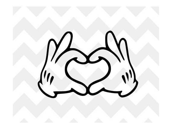Line Art Of Heart : Mickey heart hands svg mouse disney