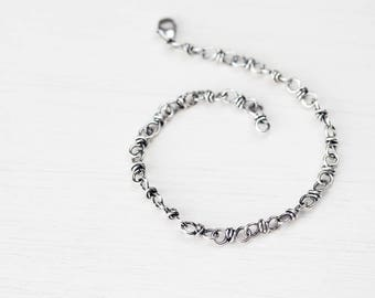 Bigger Sterling Silver Link Chain Bracelet, Wire wrapped handcrafted silver chain bracelet for man or woman, artisan jewelry