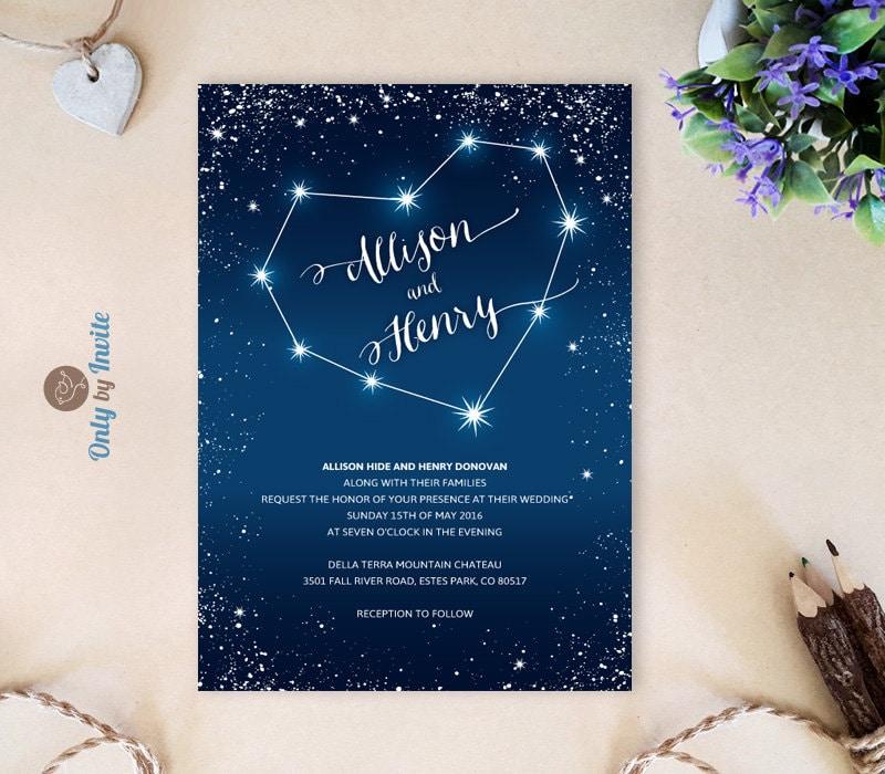 Matrimonio Tema Costellazioni : Romantic wedding invitations printed starry night