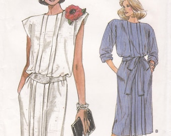 Free Us Ship Sewing Pattern Vogue 9511 Vintage Retro 1980s 80s Dress Pleated Uncut Size 12 Bust 34 Factory Folded