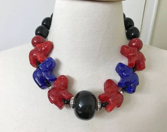 Spectacular Angela Caputi Red & Blue Resin Swarovski Crystal Elephants Necklace