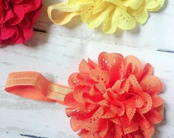 Orange Eyelet Ruffle Flower Headband