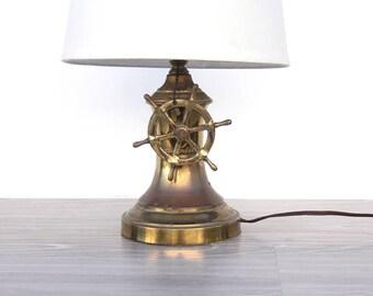 Vintage Brass Ship Wheel Nautical Lamp