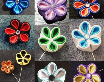 Double color kanzashi flower pin/ broach