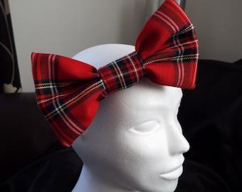 Royal Stewart red tartan 7 inch large hair bow headband