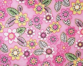 Pink Flower Garden Flannel Pillowcase